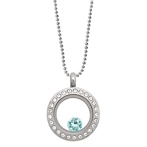 LB1041   December Swarovski Birthstone Silver Mini Living Locket Gift Set